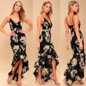 Lulu's Darling Daylily Black Floral Ruffle Dress